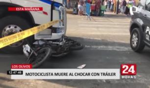 Los Olivos:  motociclista muere al chocar con tráiler