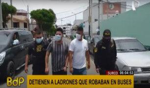 Surco: capturan a sujetos que robaban celulares a pasajeros de buses