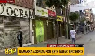 Gamarra: tiendas cerradas al 100% y algunos continúan trabajando a puerta cerrada