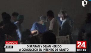 Tarapoto: asaltantes armados disparan a conductor de camioneta en plena carretera