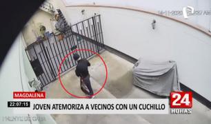 Magdalena: joven con presuntas alteraciones mentales atemoriza a vecinos con un cuchillo