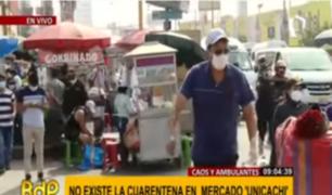 Caos y ambulantes: cuarentena no existe en exteriores del mercado Unicachi