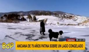 Siberia: anciana de 79 años patina todos los días para alimentar a sus vacas