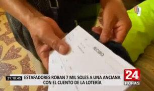Delincuentes robaron 7 mil soles a adulta mayor con cuento del sorteo