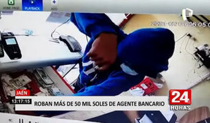 Jaén: delincuente roba más de 50 mil soles de un agente bancario en 20 segundos