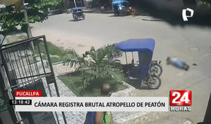 Pucallpa: imágenes muestran violento choque de un motociclista y un peatón