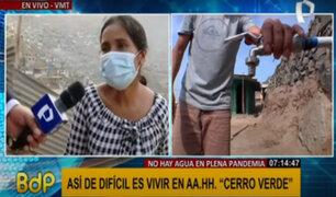 """VMT: Familias de asentamiento humano """"Cerro Verde"""" no tienen agua en plena pandemia"""