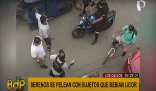 Los Olivos: serenos se pelean con sujetos que bebían licor en la calle
