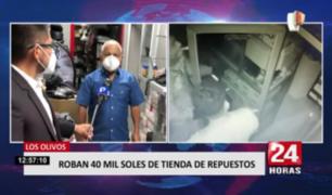 Los Olivos: roban 40 mil soles de tienda de repuestos