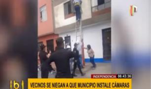 Independencia: vecinos atacan a trabajadores e impiden instalación de cámaras en su zona
