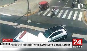 Impactantes imágenes dejaron un choque entre una ambulancia SAMU y una camioneta