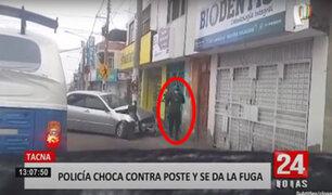 Tacna: policía abandona a su acompañante tras chocar contra un poste