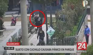 Hombre en aparente estado de ebriedad desata terror amenazando con un cuchillo