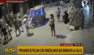El Agustino: peruanos y venezolanos desatan feroz pelea por beber licor en la calle