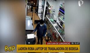 SJL: ladrón roba laptop de tienda tras descuido de trabajadora