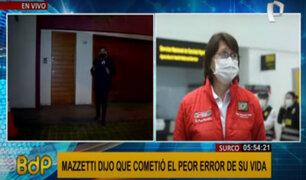 Pilar Mazzetti: retiran resguardo policial en exteriores de vivienda de exministra