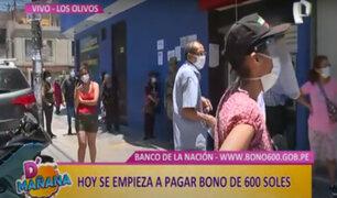D'mañana: largas colas para cobrar bono 600 en exteriores de banco en Los Olivos