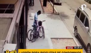 Breña: captan a ladrón robando bicicletas en condominios