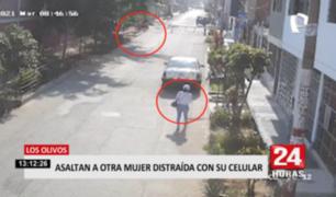 Los Olivos: asaltan a otra mujer distraída con su celular