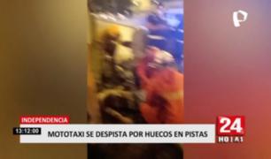 Independencia: mototaxi se despista por huecos en pista
