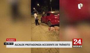 ¡Increíble! alcalde de Tumbes choca su vehículo durante toque de queda y luego huye
