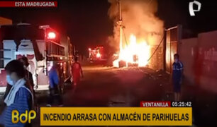 Ventanilla: voraz incendio arrasa con almacén de parihuelas