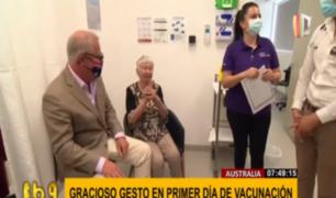 Australia: con un gracioso 'accidente' celebraron inicio de vacunación