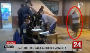Tumbes: baila frente a la policía, mientras esperaba su turno para recibir su multa