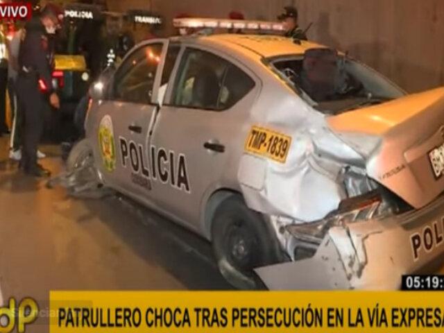 Patrullero choca tras persecución en Vía Expresa: un policía resultó herido