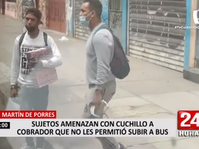SMP: sujetos amenazan con cuchillo a cobrador que no les permitió subir a bus
