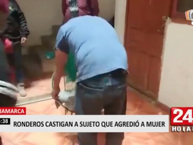Cajamarca: ronderos castigan a sujeto que agredió a mujer