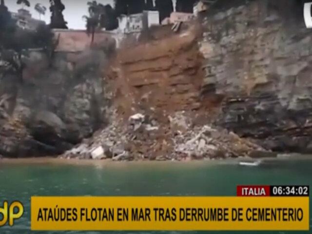 Italia: ataúdes flotan en el mar tras derrumbe de cementerio