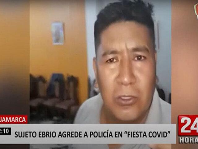 Cajamarca: sujeto agrede a policía cuando intervenía una fiesta de cumpleaños