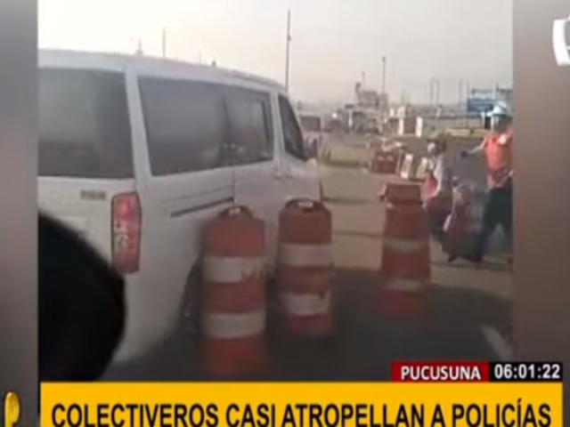 Pucusana: colectiveros casi atropellan a policías y fiscalizadores