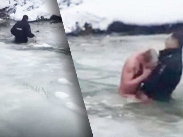 Policía rompe hielo de lago congelado para rescatar a un hombre en Rusia