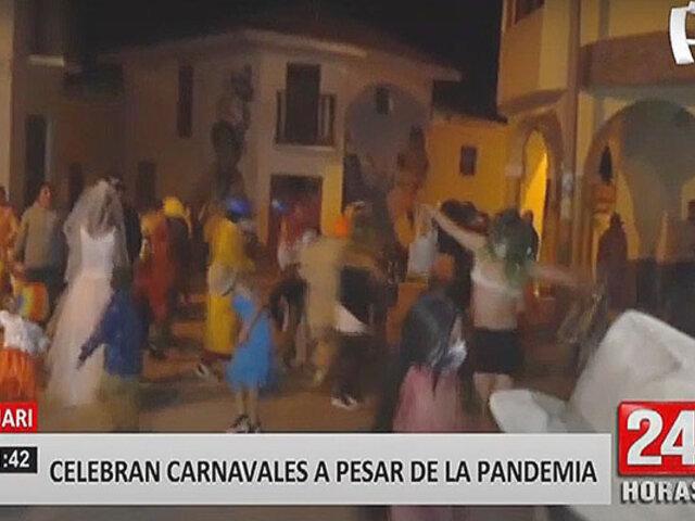 Áncash: captan a pobladores festejando hasta la noche carnavales