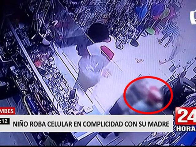 Tumbes: niño roba celular en tienda con ayuda de su madre