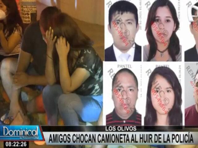 Los Olivos: jóvenes que bebían a bordo de camioneta se dan a la fuga y provocan accidente