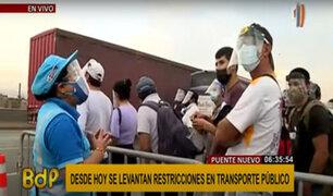 Primer día sin cuarentena: desorden en el paradero de Puente Nuevo para conseguir un bus