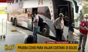 Plaza Norte: prueba covid para viajar costará 35 soles y deberá realizarse 72 horas antes