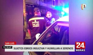 San Luis: sujetos ebrios que iban a ser intervenidos insultan a agentes de serenazgo