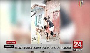 Tumbes: mujeres se agarran a golpes por un puesto de trabajo en una obra de construcción