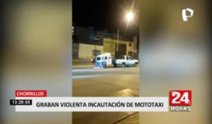 Graban violenta incautación de mototaxi en Chorrillos