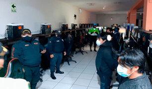 Huancayo: cinco menores son intervenidos en cabinas de internet durante toque de queda