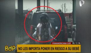 Panamericana Sur: mujer es captada llevando a bebé en brazos a bordo de una motocicleta