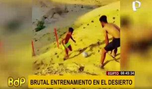 El brutal entrenamiento de fútbol en las dunas del desierto de Egipto
