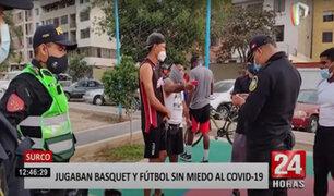 Surco: Policía interviene a más de 30 extranjeros jugando básquet