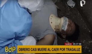 Surco: rescatan a obrero que cayó varios metros por un tragaluz de edificio
