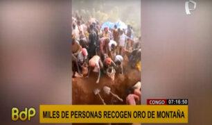 Congo: miles se abarrotan para recoger oro de una montaña