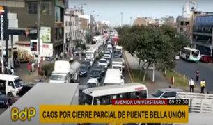 Puente Bella Unión: reportan intenso tráfico vehicular por segundo día consecutivo